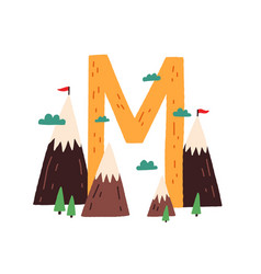 Capital letter m english childish alphabet with vector