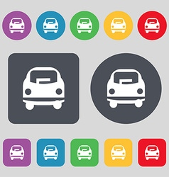 Car icon sign A set of 12 colored buttons Flat vector image