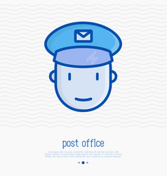 cartoon postman thin line icon vector image