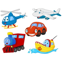 Cartoon transportation collection vector