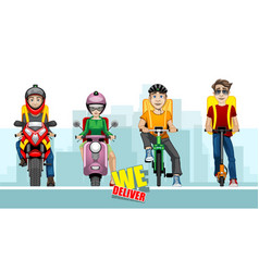 cartoon with four delivery men vector image