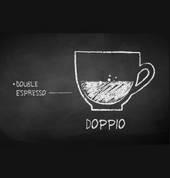 Chalk black and white sketch of doppio coffee vector