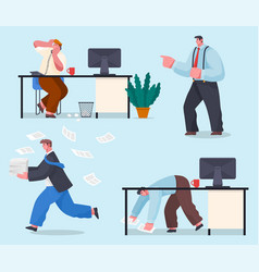 Chaos in office concept idea many work and few vector