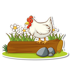 Chicken standing on log with nature element vector