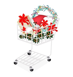 Christmas Item and Gift Box in Shopping Cart vector image