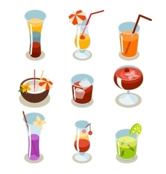 Cocktail icons isometric vector image