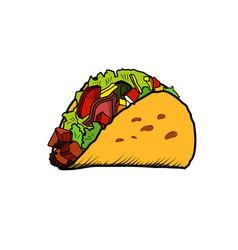 Color sketch tacos vector