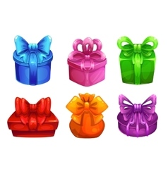colorful gift boxes with big bows vector image