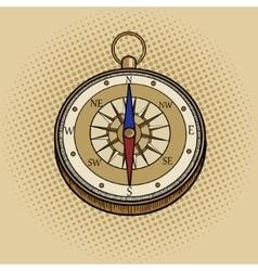 Compass retro pop art style vector image
