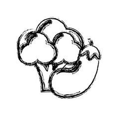 Contour broccoli and eggplant vegetable icon vector
