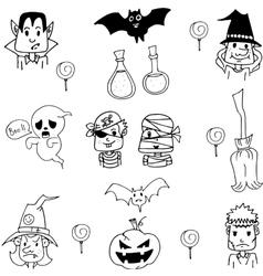 Costume halloween in doodle vector