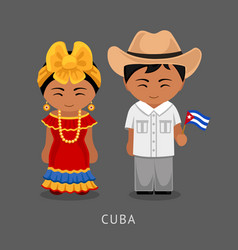 Cubans in national dress with a flag vector
