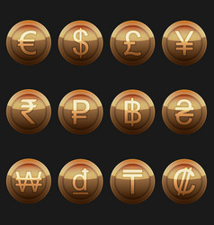 Currency coins metallic bronze with highlights set vector