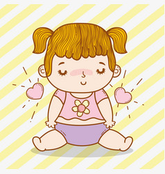 Cute baby girl with hearts and pigtails vector