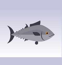 cute fish gray cartoon funny swimming graphic vector image