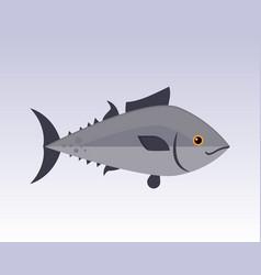 cute fish gray cartoon funny swimming graphic vector image vector image