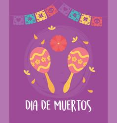 day dead mexican celebration maracas vector image