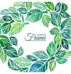 Decorative frame of watercolor leaves wreath vector