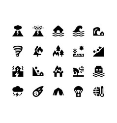 Disaster glyph icons vector