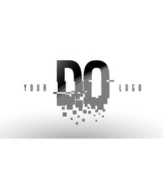 do d o pixel letter logo with digital shattered vector image