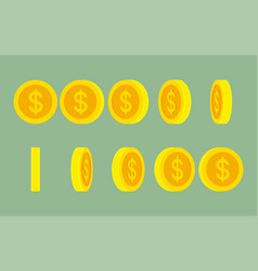 dollar coin rotating gif animation sprite sheet vector image
