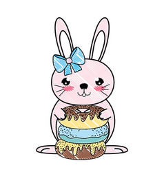 Doodle famale rabbit animal with sweet donuts vector