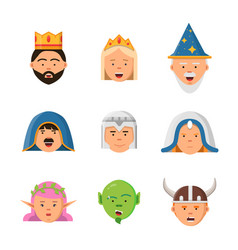 fairytale avatars collection fantasy game vector image