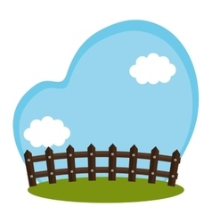 field farm with fence scenery vector image