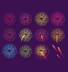 Fireworks on blue background burst salute vector