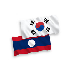 Flags south korea and laos on a white vector