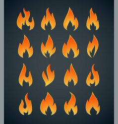 flames icons set vector image