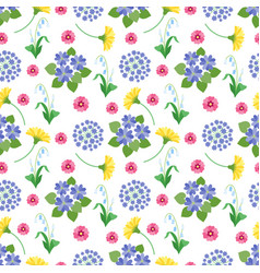 floral seamless pattern spring and summer garden vector image