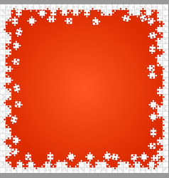 Frame white puzzles pieces orange - jigsaw vector
