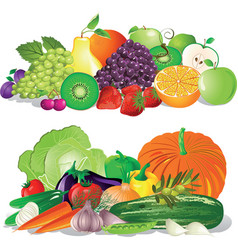 Fruit and vegetables vector
