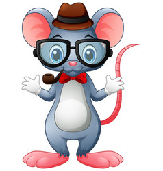 Funny mouse hipster with glasses and bow tie vector