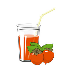 Glass with orange persimmon juice vector