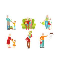 grandparents spending time with grandchildren set vector image