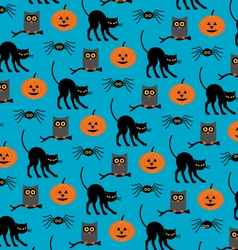 halloween cats and owls vector image