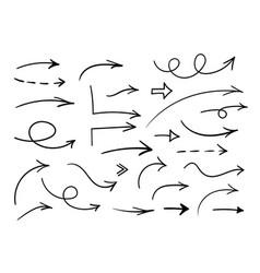 hand drawn arrows set black doodle vector image