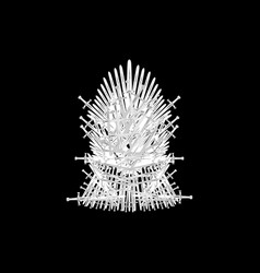 Hand drawn iron throne westeros made isolated vector