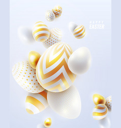 Happy easter holiday background with 3d eggs vector