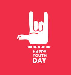 happy youth day rock hand sign quote card vector image