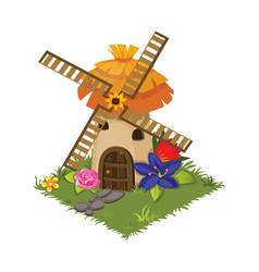 Isometric cartoon village grinder mill with vector