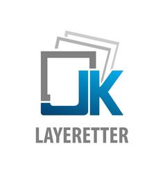 layered initial letter jk logo concept design vector image
