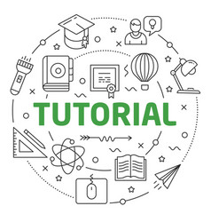 line flat circle tutorial vector image