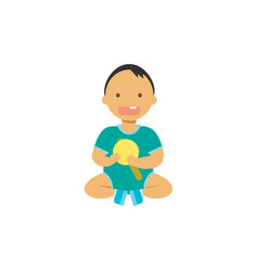 Little baby boy hold toy rattle happy children vector