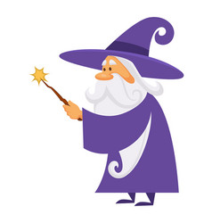 Magician or wizard with magic wand warlock man or vector