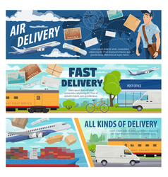 mail delivery airplane truck train and ship vector image