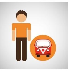 male character traveler vintage car van vector image