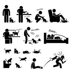 Man and cat relationship pet stick figure vector